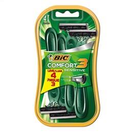 Aparelho de Barbear BIC Comfort 3 Cabeça Móvel, Pele Sensível Leve 4 pague 3 Pack Promocional (Emb. contém 1 Cartela com 4un.)