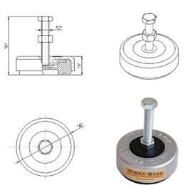 Amortecedor vibra-stop mini rosca 3/8 - capacidade 500/2000 kg (pacote com 4 peça(s)