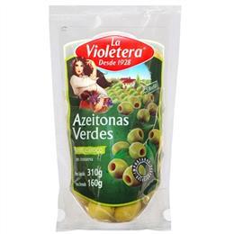 Azeitona La Violetera Verde  Sem Caroço Sache (Emb. contém 24un. de 160g cada)