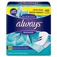 Absorvente Always Proteção Diaria Respiravel, Leve mais  Pague Menos, Pack Promocional (Emb. contém 40un.)