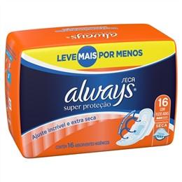 Absorvente Always Maxima Proteção Seca com Abas Leve 16 Pague 14 Pack Promocional (Emb. contém 16un.)