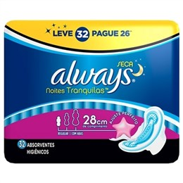Absorvente Always Noites Tranquilas Seca com Abas Leve 32 Pague 28 Pack Promocional (Emb. contém 32un.)