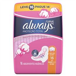 Absorvente Always Maxima Proteção Suave com Abas Leve 16 Pague 14 Pack Promocional (Emb. contém 16un.)