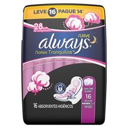 Absorvente Always Noturno Malha Suave com Abas Leve 16 Pague 14 Pack Promocional (Emb. contém 16un.)