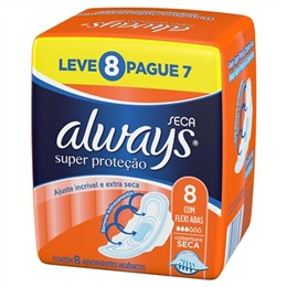 Absorvente Always Noites Tranquilas Malha Seca com Abas Leve 8 Pague 7 Pack Promocional (Emb. contém 8un.)