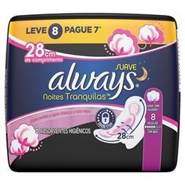Absorvente Always Noites Tranquilas Malha Suave com Abas Leve 8 Pague 7 Pack Promocional (Emb. contém 8un.)