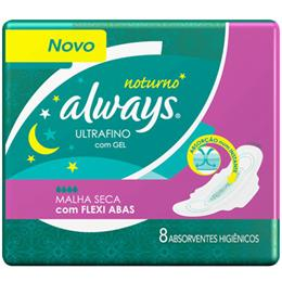 Absorvente Always Ultrafino Proteção Total Noturno Longo (Emb. contém 8un.)