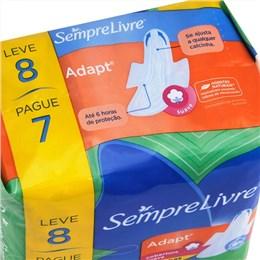 Absorvente Sempre Livre Especial Adapt Suave com Abas Leve 8 Pague 7 Pack Promocional (Emb. contém 8un.)