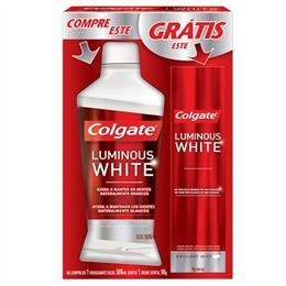 Enxaguatório Bucal Plax Luminous White Grátis Creme Dental Luminous White 70g (Emb. contém 1un. de 500ml) - Colgate