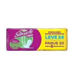 Absorvente Silhouette Único Básico sem Abas Leve 24 Pague 20 Pack Promocional (Emb. contém 4 Pacotes com 24un. de cada)
