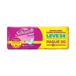 Absorvente Silhouette Única Supergel com Abas Leve 24 Pague 20 Pack Promocional (Emb. contém 4 Pacotes com 24un. de cada)