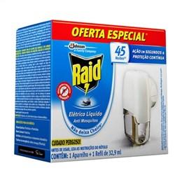Inseticida Elétrico Aparelho Raid 45 Noites Preço Especial (Emb. contém 1 Aparelho + Refil de 32,9ml)