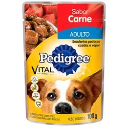 Ração Pedigree Premium Adulto Raças Pequenas Carne Sachê Molho (Emb. contém 18un. de 100g cada)