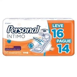 Absorvente Personal Cobertura Seca com Abas Leve 16 Pague 14 Pack Promocional (Emb. contém 16un.)