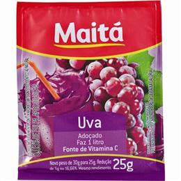 Refresco em Pó Adoçado Maitá Uva (Emb. contém 15un. de 25g cada)