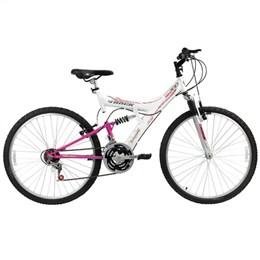 Bicicleta Adulto Track TB 200 Aro 26 18 Marchas Dupla Suspensão Branco/Rosa (Emb. contém 1un.)