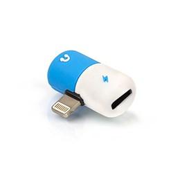 Adaptador iPhone Lightning Splitter para Fone e Carregador Azul