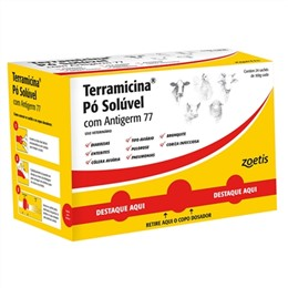 Terramicina Pó Zoetis Solúvel com Antigerme 77 (Emb. contém 24un. de 100g cada)