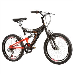 Bicicleta Juvenil Track XR 20 Aro 20 6 Marchas Dupla Suspensão Preto/Laranja Neon (Emb. contém 1un.)