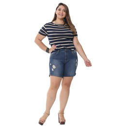 Bermuda Jeans Feminina Plus Size  252144  Grade com 9 peças